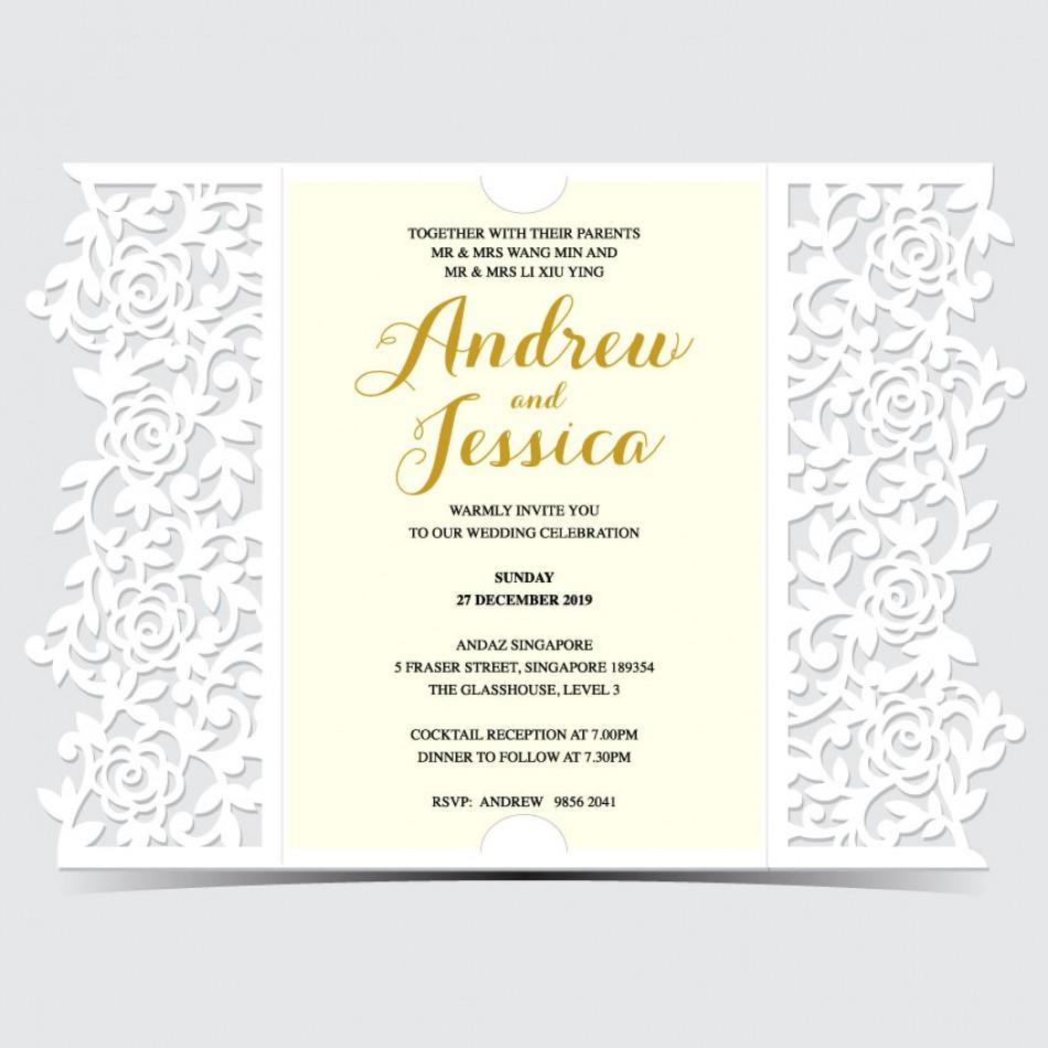 Customized UV Print with Laser Cut Wedding Card