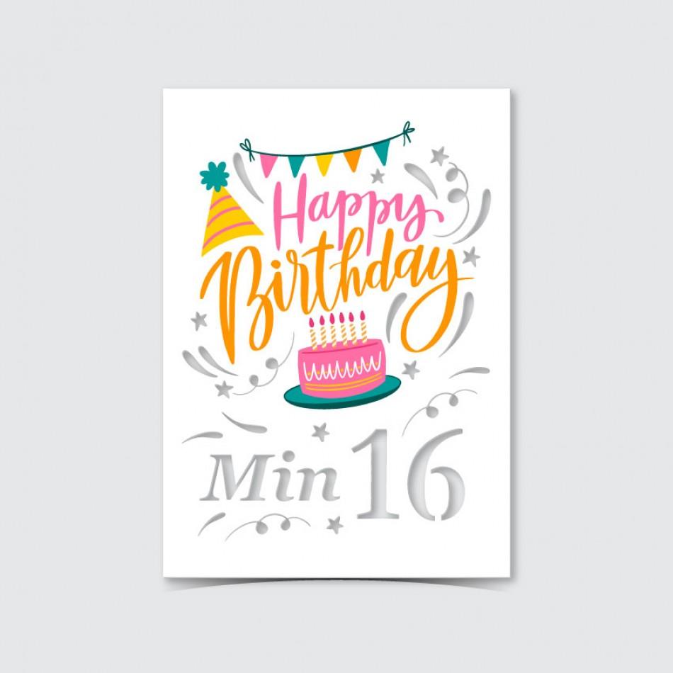 Customized UV Print with Laser Cut Birthday Card